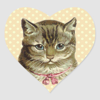 Vintage Kitten with Pink Bow and Polka Dots V2 Heart Sticker
