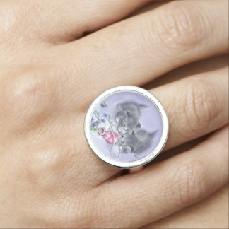 Vintage Kittens and Antique Pearls Retro Jewelry Photo Ring