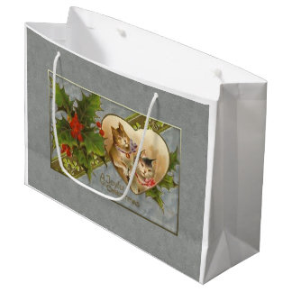 Vintage Kittens and Holly Personalized Large Gift Bag