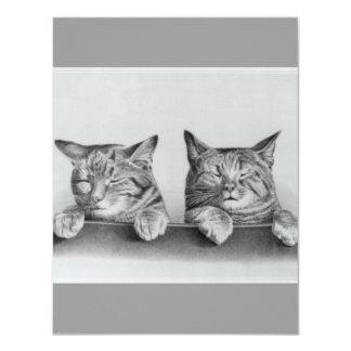 "Vintage Kittens Artwork 4.25"" X 5.5"" Invitation Card"