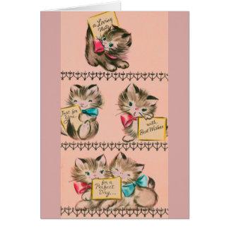 Vintage Kittens Birthday Greeting Card