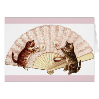 Vintage Kittens Blowing Bubbles, Card