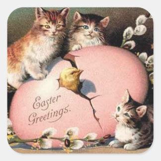 Vintage Kittens Easter Sticker