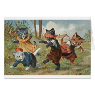 Vintage - Kittens Playing Blind Man's Bluff, Card