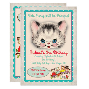 Retro Kitten Birthday Invitations Zazzle Au