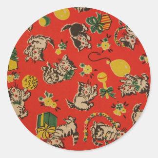 Vintage Kitty Cat Play Days Round Sticker