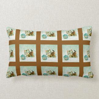 Vintage Kitty in Brown Plaid Throw Cushions