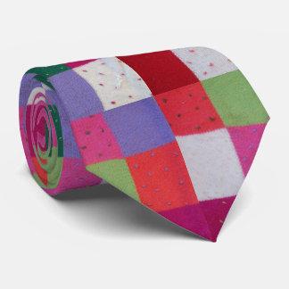 vintage knitted patchwork colorful unique design tie