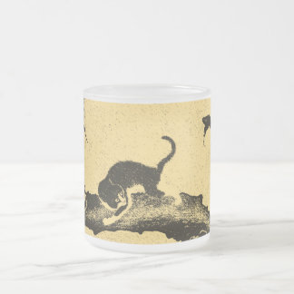 Vintage Korean Cat Art Frosted Glass Coffee Mug
