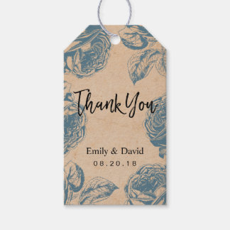 Vintage Kraft Blue Floral Wedding Thank You Gift Tags