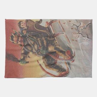 Vintage Krampus Christmas print Tea Towel