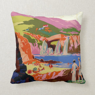 Vintage Kuling China Golfer's and Landscape Travel Throw Pillow