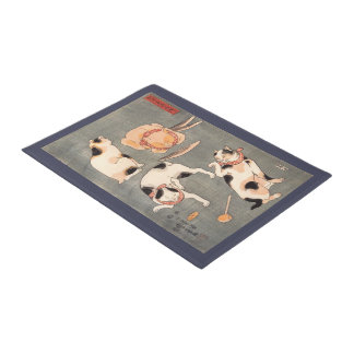 Vintage Kuniyoshi Japanese Cat Art Poses Doormat