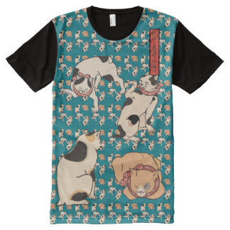 Vintage Kuniyoshi Japanese Cats Pattern All-Over Print T-Shirt