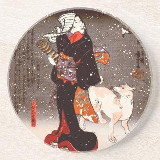 Vintage Kuniyoshi Woman and Dog in Snow Fine Art Drink Coaster