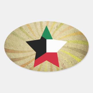 Vintage Kuwaiti Flag Swirl Oval Sticker