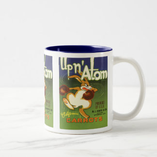 Vintage Label Art, Up n Atom Carrots Boxing Rabbit Two-Tone Coffee Mug