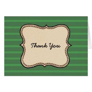 Vintage Label Green Stripe Thank You Card