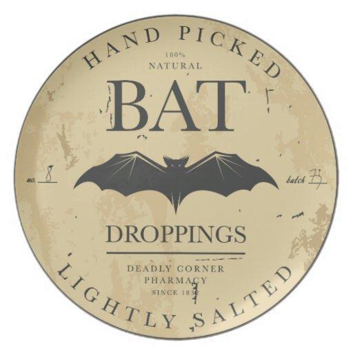 Vintage Label Halloween Bat Decorative Plate