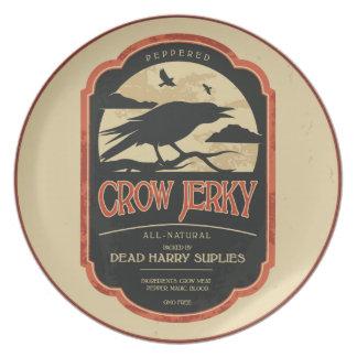 Vintage Label Halloween Crow Decorative Plate