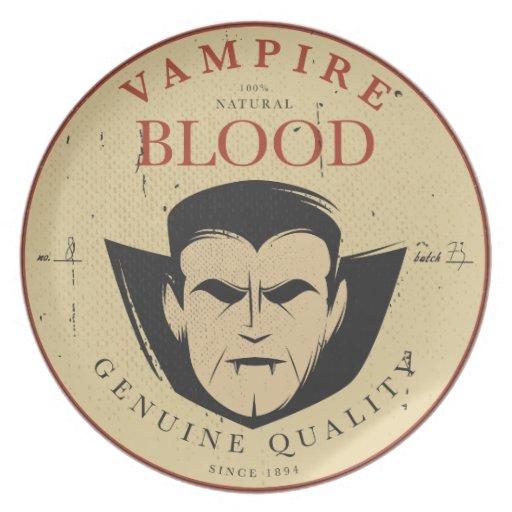 Vintage Label Halloween Vampire Decorative Plate