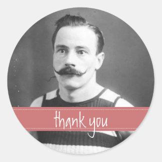Vintage Labels Mustache / Moustache Thank You