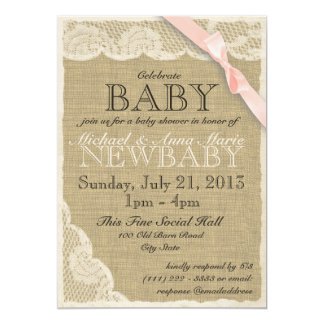 Vintage Lace and Bow Baby Shower Blush Pink 13 Cm X 18 Cm Invitation Card