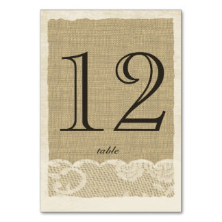 Vintage Lace and Burlap Table Number Card Table Cards
