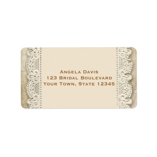 Vintage Lace and Damask Wedding Label