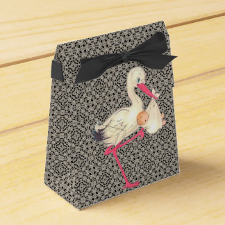 Vintage Lace and Stork Baby Shower Favour Boxes