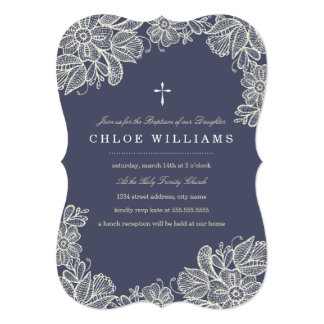 Vintage Lace Baptism 13 Cm X 18 Cm Invitation Card