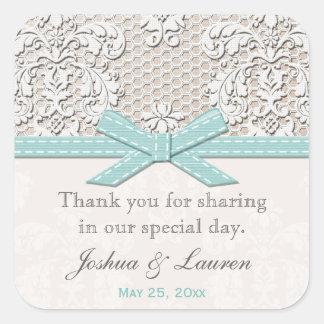 Vintage Lace Blue Wedding Favour Labels Stickers