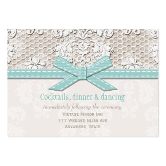 Vintage Lace Blue Wedding Reception Enclosure Card Business Card Template