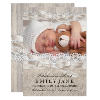 Vintage Lace & Bow Rustic Photo Birth Announcement