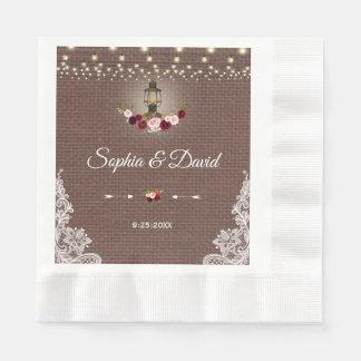 Vintage Lace Burlap Lantern String Lights Wedding Disposable Napkin