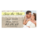 Vintage Lace & Burlap Look Save the Date - Yellow Personalised Photo Card