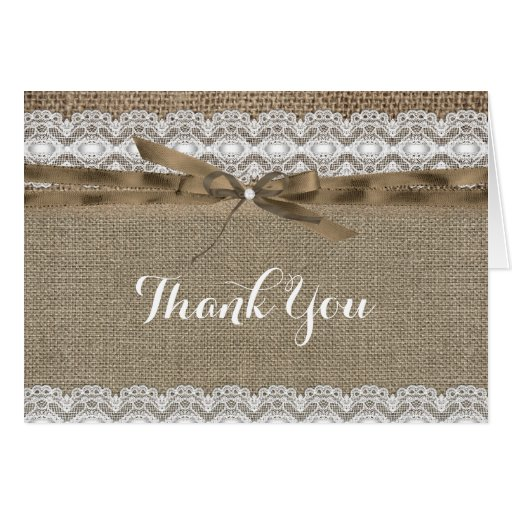 Vintage Lace & Burlap Thank You Card Greeting Card