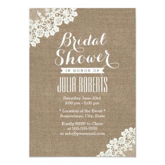 Vintage Lace Corner Burlap Bridal Shower 13 Cm X 18 Cm Invitation Card