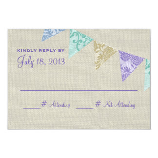 Vintage Lace Country Pennants Reply Card