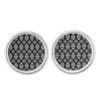 Vintage Lace Damask Elegant Black and White Cufflinks