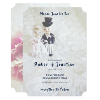Vintage Lace Dapper Couple Wedding Invitations
