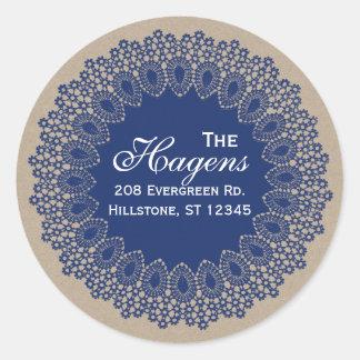 Vintage Lace Doily Return Address Round Label Navy
