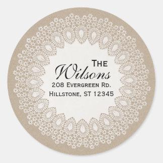 Vintage Lace Doily Return Address Round Label Round Stickers