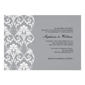 Vintage Lace Gray Wedding Invitation