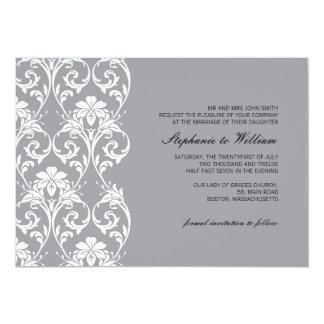 "Vintage Lace Gray Wedding Invitation 5"" X 7"" Invitation Card"