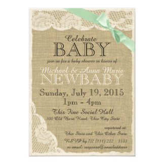 "Vintage Lace Green Bow Baby Shower 5"" X 7"" Invitation Card"
