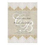 Vintage Lace Linen Gold Wedding Monogram Damask Custom Announcement