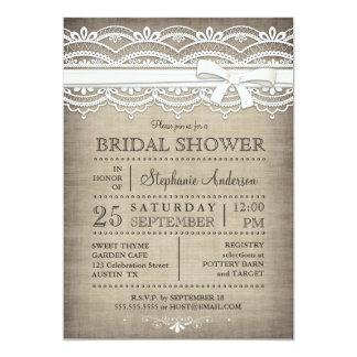 Vintage Lace & Linen Rustic Country Bridal Shower 13 Cm X 18 Cm Invitation Card