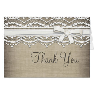 Vintage Lace & Linen Rustic Custom Thank You Card