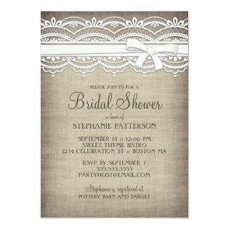 Vintage Lace & Linen Rustic Elegance Bridal Shower Card
